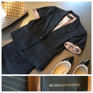 BCBG Pinstripe Short Sleeve Pinstripe Blazer, Med